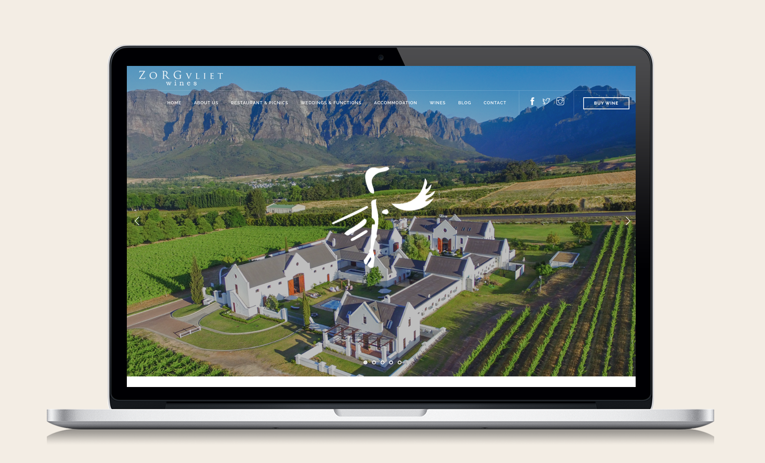 ZORGVLIET WINES WEBSITE